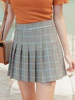 蜜桃女孩腰鬆緊經典格紋百褶短裙-橘