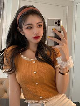 淘氣甜心蕾絲滾邊修身上衣-橘