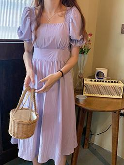 優雅首選方領縮腰長洋裝-紫