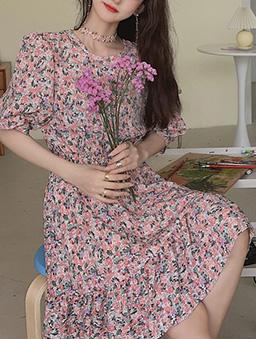 浪漫童彩多色小碎花縮腰洋裝-粉色