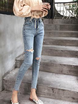 韓妞日常高腰抓破設計九分牛仔褲-藍