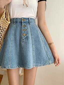 少女時代高腰車線造型A字牛仔短裙-藍