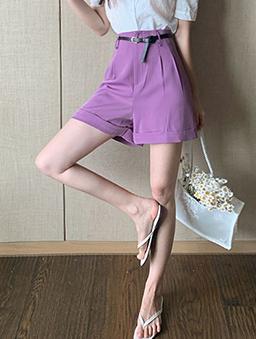 魅力四射打褶設計反褶短褲-紫