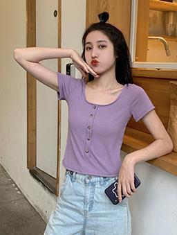 百搭必敗多色方領假排釦短版上衣-紫