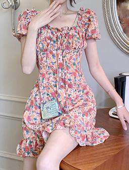 氣質甜心彩繪花朵泡泡袖洋裝-粉色