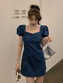 法國娃娃方領泡泡袖修身洋裝-藍