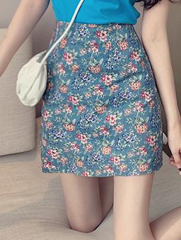 復古美好小碎花修身A字窄裙/短裙-藍