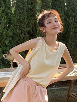 夏日甜姐兒扭結背心/上衣-杏