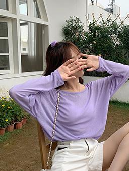 可愛露背T字小心機防曬多色薄長袖上衣-紫