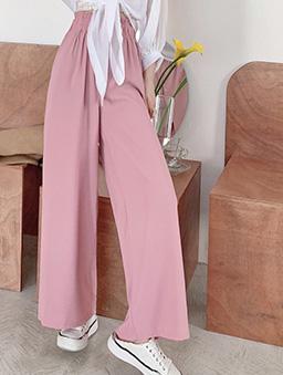 百搭必備多色腰鬆緊排釦拖地寬褲/長褲-粉色