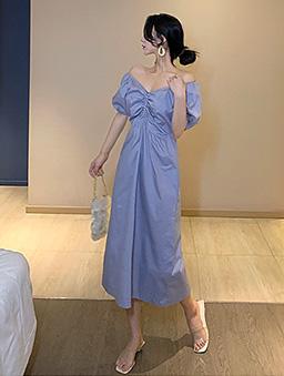 優雅氣質女神V領抽皺收腰洋裝-藍