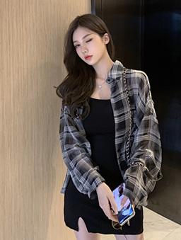 帥氣少女格紋雪紡薄款襯衫上衣-黑