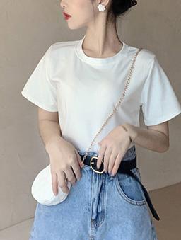 衣櫃必備百搭多色圓領純色上衣-白色