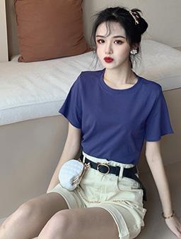 衣櫃必備百搭多色圓領純色上衣-葡萄紫