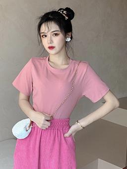 衣櫃必備百搭多色圓領純色上衣-粉紅