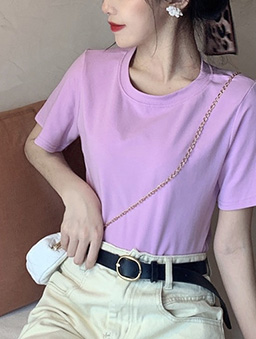 衣櫃必備百搭多色圓領純色上衣-粉紫