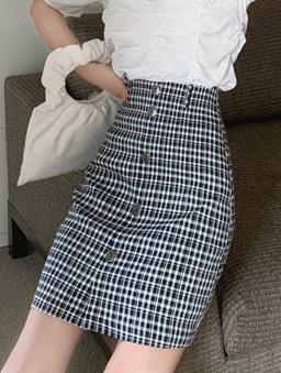 約會日常假排釦格紋高腰短裙-黑