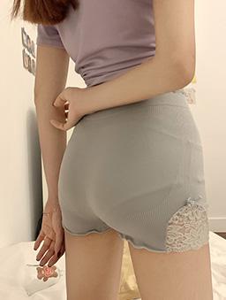 魔鬼小細節多色蕾絲舒適棉質安全褲-灰