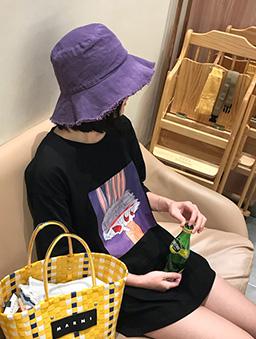 夏日限定多色遮陽毛邊漁夫帽-紫