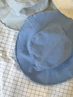 夏日限定多色遮陽毛邊漁夫帽-藍
