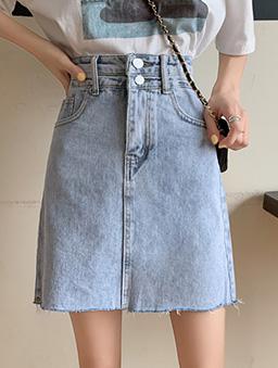 陽光少女高腰不收邊刷色感牛仔裙-藍