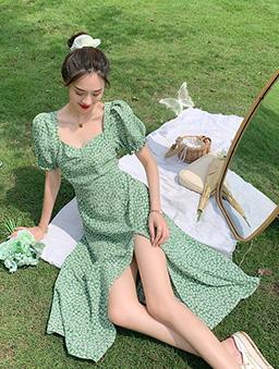 怦然心動復古碎花開衩收腰洋裝-綠