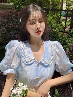 滿月社長華麗珍珠領泡泡袖上衣-藍