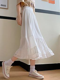 香草芋頭層次感荷葉造型長裙-白色