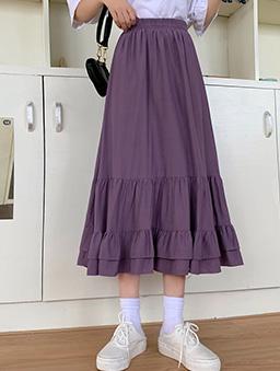 香草芋頭層次感荷葉造型長裙-紫