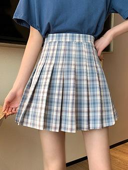 元氣少女配色格紋百褶短裙-藍