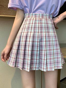 元氣少女配色格紋百褶短裙-紫