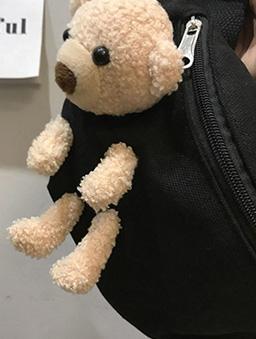 可愛元素毛絨小熊可拆造型腰包-黑