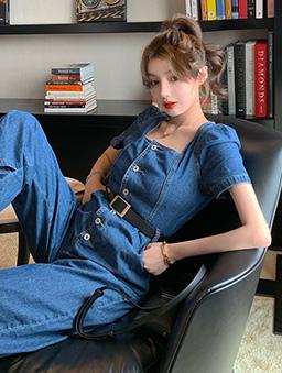 長腿歐膩方領單排釦牛仔連身寬褲-藍