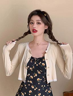粉嫩嫩蕾絲花邊薄針織短版開襟外套-杏
