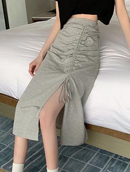 很swag魅力抽繩造型開衩長裙-灰