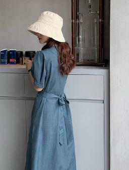 美麗的她優雅單排釦綁帶收腰洋裝-藍灰