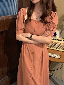 美麗的她優雅單排釦綁帶收腰洋裝-楓葉橘