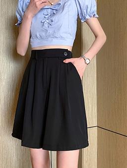 時尚簡約高腰西裝打折短版五分寬褲-黑