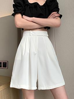 時尚簡約高腰西裝打折短版五分寬褲-白色