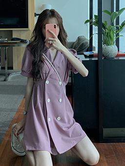 復古少女雙排釦西裝領收腰洋裝-紫