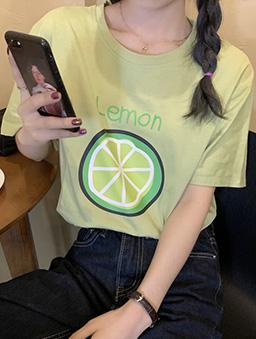 酸酸甜甜檸檬切片舒適寬版印花T/上衣-蘋果綠