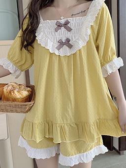 夢幻少女蕾絲蝴蝶結居家睡衣套裝-黃