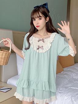 夢幻少女蕾絲蝴蝶結居家睡衣套裝-綠