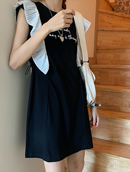 俏皮魅力荷葉小蓋袖腰部調節洋裝-黑