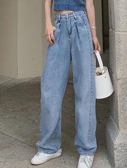 米蘭街頭刷色腰褶牛仔寬褲-藍