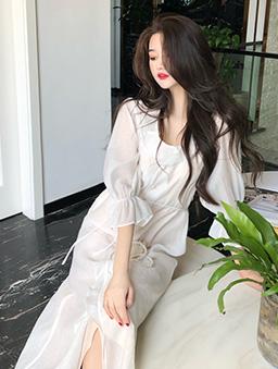 仙女下凡花瓣領透膚綁帶長洋裝-白色