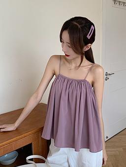 清涼日系抽皺傘襬細肩帶背心上衣-粉紫