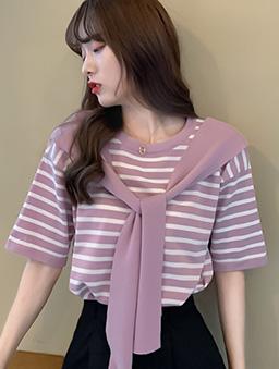 西城女孩條紋披肩剪接五分袖上衣-粉紫