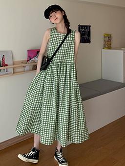 夏綠蒂少女格紋背心長洋裝-綠
