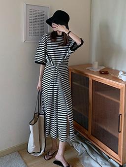美的輕鬆2way條紋休閒長洋裝-黑